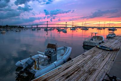 Beautiful sunrise at Claiborne Pell Newport Bridge, Jamestown, Rhode Island