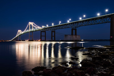 Newport Bridge at night, Jamestown, Rhode Island