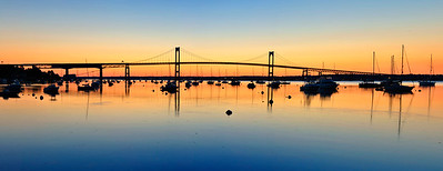 Panoramic View of Claiborne Pell/Newport Bridge at sunrise, Rhode Island