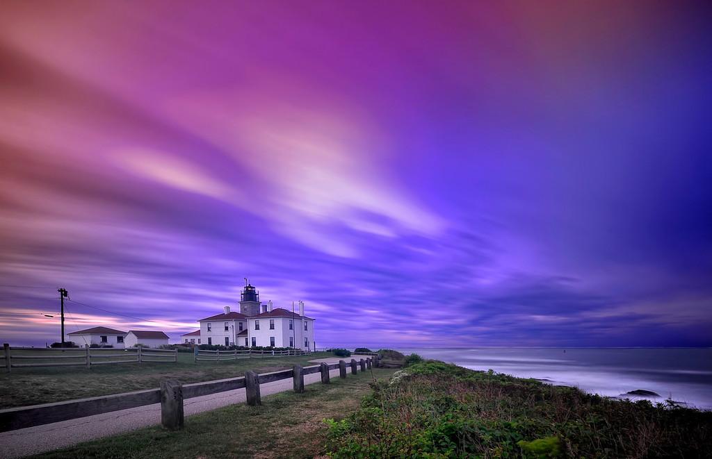 Long Exposure shot of Beavertail Lighthouse, Jamestown.