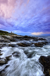 Vertical Shot of  Beavertail Light House, Jamestown, RI.