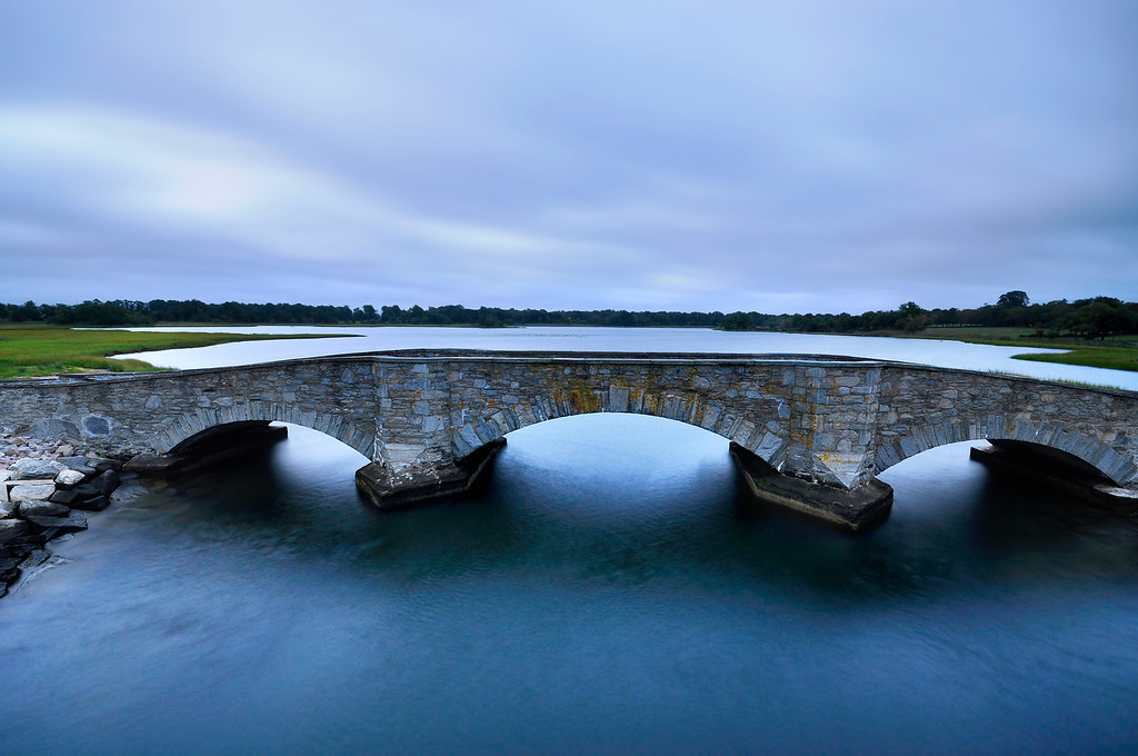 Stone Bridge at sunrise, Colt State Park, Bristol