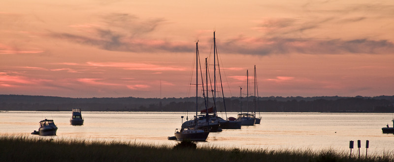 In for the Night<br /> Boats anchored at sunset on Little Narragansett Bay