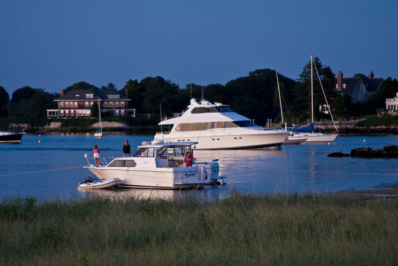 Keeping Good Company<br /> Boaters anchor in Little Narragansett Bay as the sun goes down.