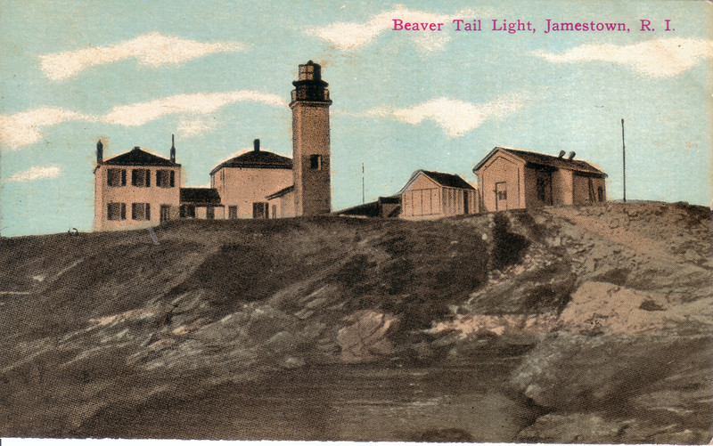 A turn of the century postcard view of Beavertail Light