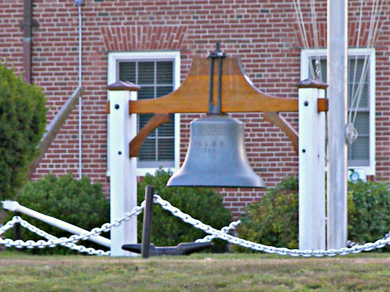 The fog bell signal was located 42 feet above sea level and struck a triple blow every 10 seconds. The fog bell is now located in front of the Coast Guard Station at Castle Hill.