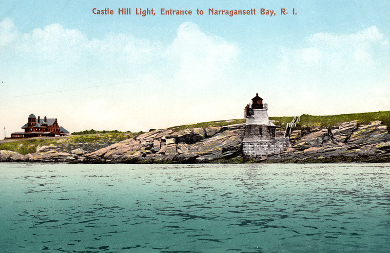 A turn of the century view of the Castle Hill Light Station.  Professor Agassiz's home can be seen to the left.