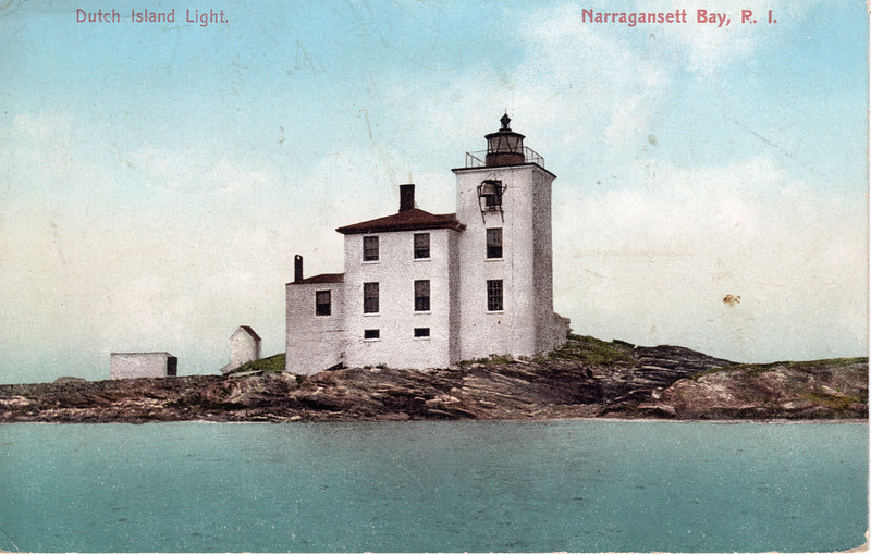 An old postcard view of the Dutch Island Light showing the Keepers dwelling and fog bell
