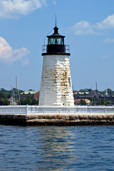In March 1823 Congress appropriated $2,500 in build a lighthouse on the northern end of Goat Island.  A 25 foot stone octagonal tower was erected with a small lantern which held eight oil lamps and exhibited a fixed white light.