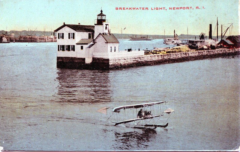 Old postcard view of the Goat Island Lighthouse, Keepers dwelling and Fog Signal