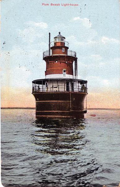 Old postcard view of the Plum Beach Lighthouse, Rhode Island