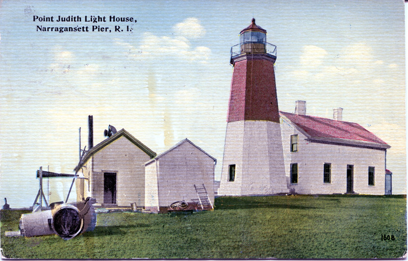 An old postcard view of the Point Judith Lighthouse showing the old Keepers dwelling which was torn down in 1954.