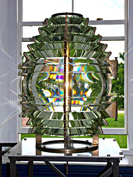 The 4th Order lens from Pomham Light is on display at the Custom House in Newburyport, Massachusetts