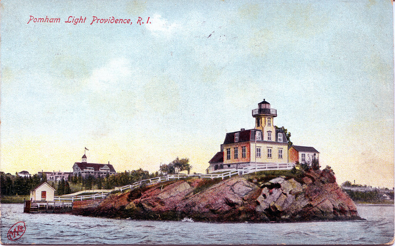 A turn of the century postcard view of the Pomham Rocks Lighthouse