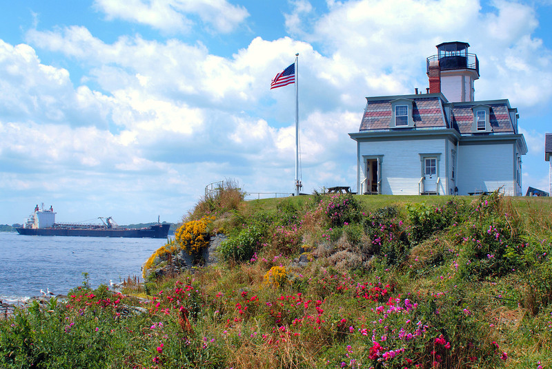 Construction began in 1869 and was completed by the end of the year.  The lighthouse built was a two story French Second Empire Revival wooden structure with an octagonal tower.  The plans drawn by architect Albert R. Dow were used to build lighthouses in several New England locations.