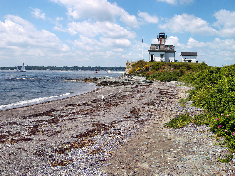 Before the government lighthouse was built the Bristol Steam Boat Company maintained a private aid to navigation on Rose Island.  In July 1868 Congress appropriated $7,500 to build a lighthouse on Rose Island to serve shipping entering Newport Harbor and the eastern passage of Narragansett Bay.