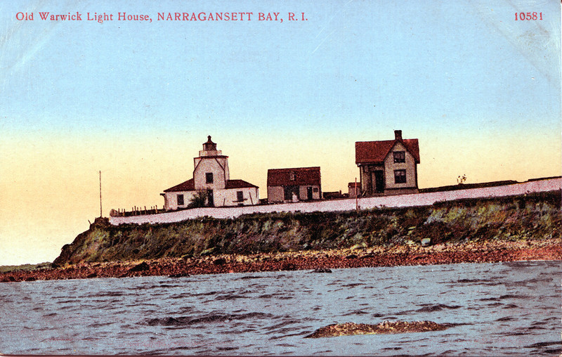 A view of the 1827 Warwick Neck Light which was torn down in 1932.  Also shown are the 3 room addition which later became the barn and the 1889 Keepers house.