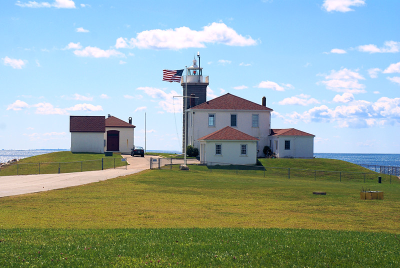 By the 1850's the wooden tower and keepers dwelling were in disrepair and threatened by erosion of the shoreline.  It was decided that a new tower and dwelling would be built 50 feet northeast of the original tower.