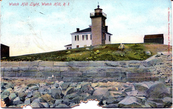 An old postcard view of the Watch Hill Lighthouse from the seawall