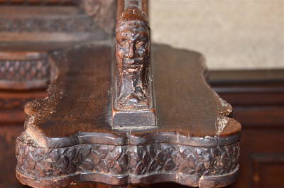 Arm rest carving on the wooden seats inside the Palace of the Grand Master Knights, Rhodes.
