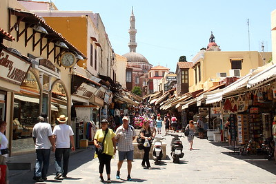 Touristy street in Rhodes Old Town.