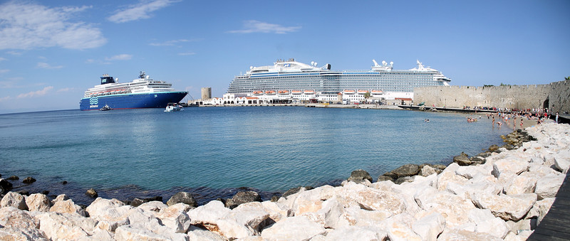 The Royal Princess is at least 3x in size compared to the ship behind it...