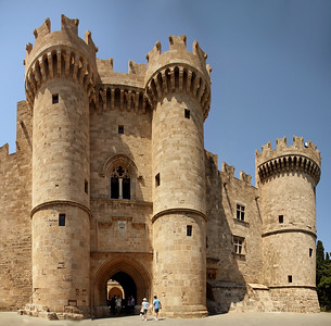 Entrance to the Palace of the Grand Master.  The site was a citadel of the Knights Hospitaller that functioned as a palace, headquarters and fortress.  It is one of the few examples of Gothic architecture in Greece.