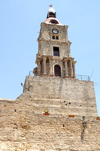 Old Clock Town Church Tower Of Rhodes.
