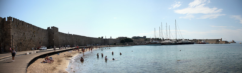 Harbor, right in front of the old city walls.