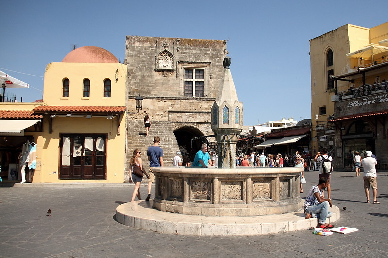 Hippocrates fountain on the Hippocrates Square, one of the central points of the medieval Old Town of Rhodes.
