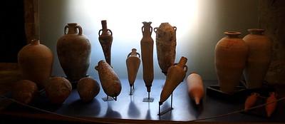 Excavated vases on display.