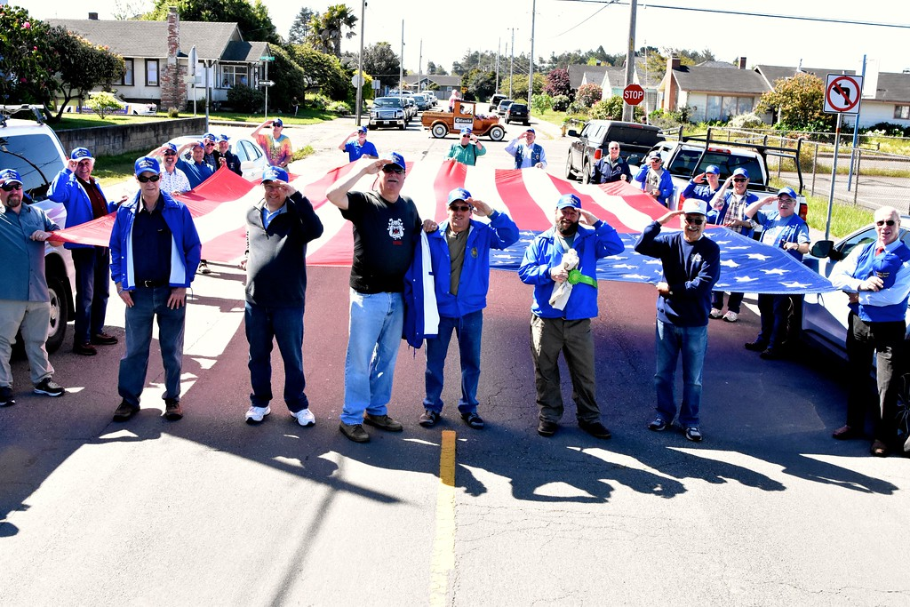 . The Native Sons of the Golden West take a salute at the end of their parade-leading walk through Eureka  (Jose Quezada - For the Times-Standard)