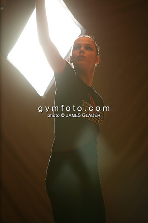Rhythmic Gymnast Galina Shyrkina of Ukraine trains in a practice area at the culver city auditorium.  Taken during the 2006 LA Lights Rhythmic Gymnastics meet in Los Angeles, CA, January 21, 2006.  (photo by James Glader)