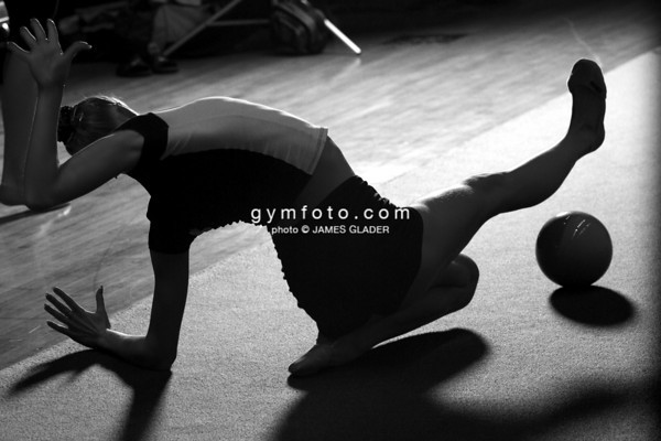 Rhythmic Gymnast Inna Jhoukova of Belarus trains in a practice area at the culver city auditorium.  Taken during the 2006 LA Lights Rhythmic Gymnastics meet in Los Angeles, CA, January 21, 2006.  (photo by James Glader)
