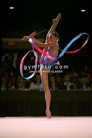 Rhythmic Gymnast Liubou Charkashyna of Belarus competes with the ribbon during 2006 LA Lights Rhythmic Gymnastics meet in Los Angeles, CA.  January 22, 2006 (photo by James Glader)