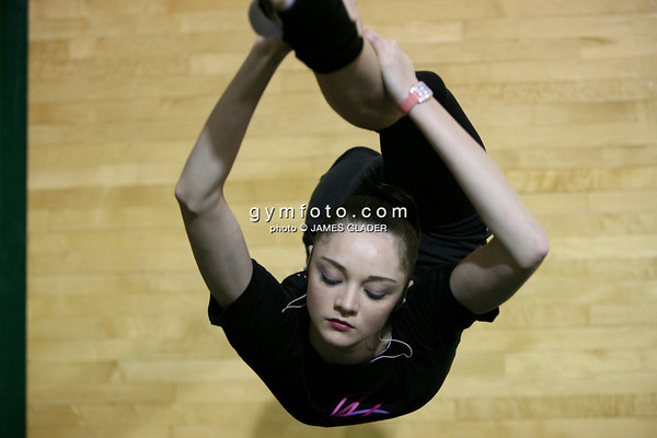 Rhythmic gymnast Anna Bessanova of Ukraine warms up before the competition. Taken during 2006 San Francisco International Rhythmic Gymnastics Invitational, San Francisco February 11, 2006  (photo by James Glader)