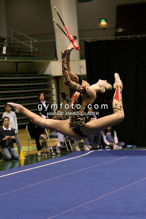 Rhythmic gymnast Anna Bessanova of Ukraine competes during the clubs discipline. Taken at the 2006 San Francisco International Rhythmic Gymnastics Invitational, San Francisco February 11, 2006.  (photo by James Glader)