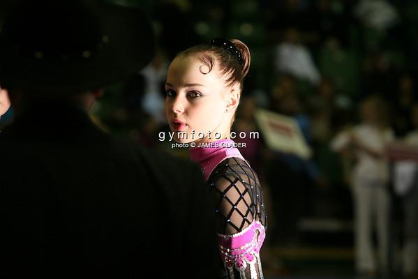 Portrait of rhythmic gymnast Galina Shyrkina of Ukraine before competition. Taken during 2006 San Francisco International Rhythmic Gymnastics Invitational, San Francisco February 11, 2006  (photo by James Glader)