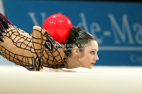 Rhythmic gymnast Anna Bessonova of Ukraine competes during the All Around competition. Taken during the 2006 Thiais Rhythmic Gymnastics Grand Prix, Thiais, France. March 25, 2006  (photo by James Glader)