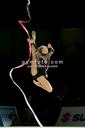 Rhythmic gymnast Inna Zhukova of Belarus competes during the All Around competition. Taken during the 2006 Thiais Rhythmic Gymnastics Grand Prix, Thiais, France. March 25, 2006  (photo by James Glader)