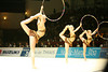 Rhythmic gymnasts compete during the group discipline. Taken during the 2006 Thiais Rhythmic Gymnastics Grand Prix, Thiais, France. March 25, 2006  (photo by James Glader)