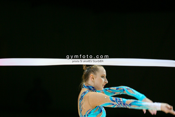 Rhythmic gymnast Vera Sesina of Russia competes during the All Around competition. Taken during the 2006 Thiais Rhythmic Gymnastics Grand Prix, Thiais, France. March 25, 2006  (photo by James Glader)