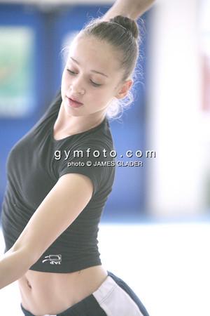 Rhythmic gymnast Marina Shpekht in training. Taken one day before the 2006 Thiais Rhythmic Gymnastics Grand Prix, Thiais, France. March 24, 2006  (photo by James Glader)