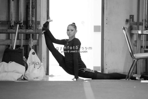 Rhythmic gymnast Alina Maksymenko of Ukraine warms up during 2013 LA Lights Rhythmic Gymnastics meet in Culver City, CA.  January 26th, 2013 (photo by James Glader)