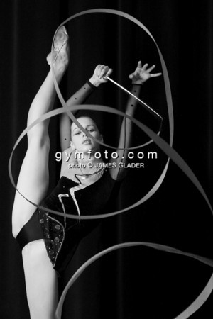 Rhythmic Gymnast Galina Shyrkina of Ukraine, demonstrates mastery of the ribbon after competitions during the 2006 LA Lights Rhythmic Gymnastics meet in Los Angeles, CA.  January 21, 2006 (photo by James Glader)