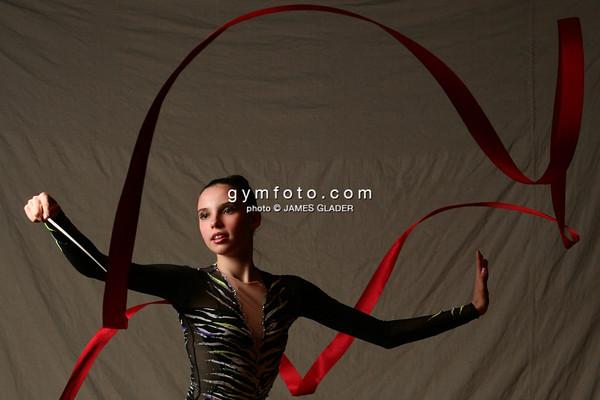Rhythmic Gymnast Marina Boyko of Ukraine, demonstrates mastery of the ribbon after the 2006 LA Lights Rhythmic Gymnastics meet in Culver City, CA.  January 22, 2006 (photo by James Glader)