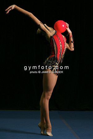 Rhythmic gymnast Anna Bessonava of Ukraine, demonstrates mastery of the ball after competitions during the 2006 San Francisco International Rhythmic Gymnastics Invitational, San Francisco February 11, 2006.  (photo by James Glader)