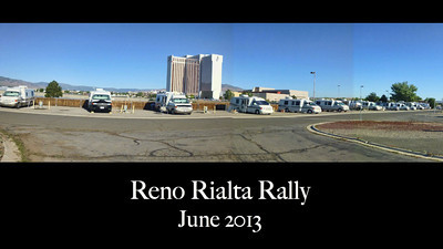Panorama 2013 Reno.RV.Rally as Rvs start to arrive. Eventually 17 made their appearance. Plus several non Rialta wanabies who just came looking to buy!