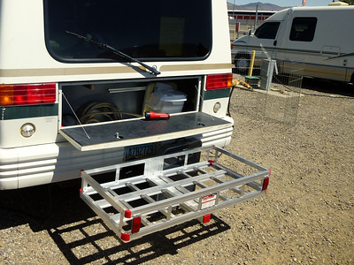 Extra Storage Aluminum Material ...Holds 500 lbs including rack and hitch weight.
