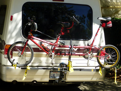 Tandem Bicycle Carrier Note yellow visual tape for cars traveling close behind.